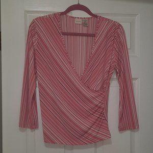 Merona Pink Striped Blouse